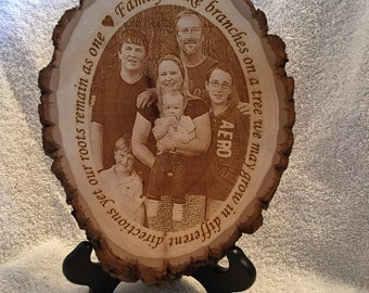 Engraved tree slice.