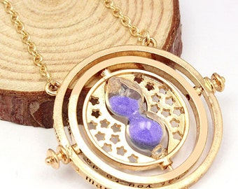 Miniature Purple Time Turner Inspired Hermione Harry Potter Deathly Hollows Gold Plate Necklace Chain Gryffindor Sand Charm Spinner handmade