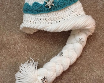 Girls Elsa Crochet Hat with Braid