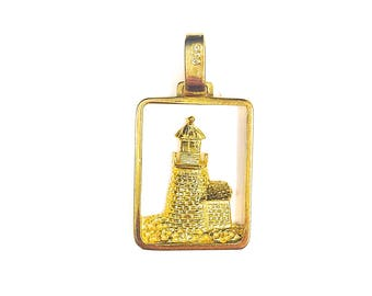 Large Brant Point Lighthouse Pendant, gold plated