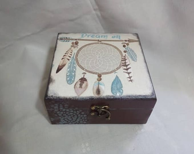 dreamcatcher Decoupage Box Jewelry wooden Box Wedding Wishes Box Vintage Box Storage box jewellery wooden box keepsakebox rustic box