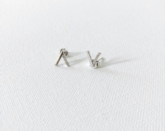 Tiny V Sterling Silver Dainty Earrings
