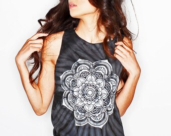 Mandala Tank Top • Yoga Top • Sacred Geometry Shirt •  Yoga Tshirt • Tie Dye Tank Top • Tiedye Tank « cd101black «« (cut mt, td tee) «