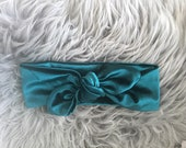 Emerald green velvet top knot