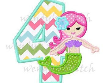 Mermaid birthday number 4 applique machine embroidery design