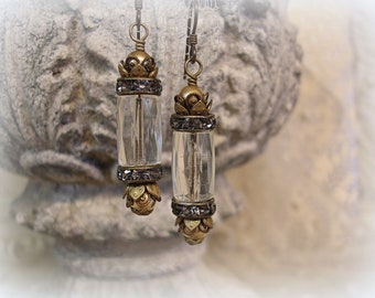 smoke gets in your eyes one of a kind vintage assemblage earrings antique gold filled and faceted glass tube beads smoke rhinestones