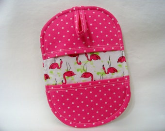 Pinch Pot Holder in Flamingos Flock - Hot Pad - Ready To Ship
