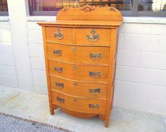 Antique Golden Tiger Oak Tallboy Dresser Serpentine Bow Front Scalloped 6 Drawer Bureau - Carved Backsplash - Original Fancy Brass Hardware