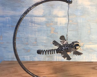 Reclaimed Metal Hanging Dragonfly Sculpture