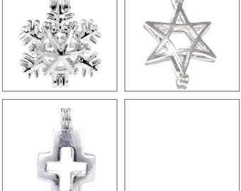 MERZIEs pearl cage U PICK quantity 1, 5, 10 Snowflake Star of David Cross pendant Chart #19 - SHIPs from USA
