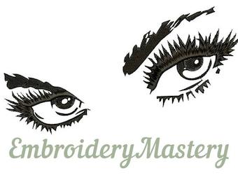 SMOKEY EYES machine embroidery design. Women eyes. Eyes embroidery. Fashion embroidery design