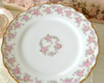 Beautiful Antique Elite Limoges Porcelain Dinner Plate / French China / Roses and Violets