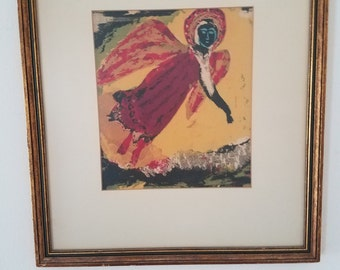 Mid century Marc Chagall style lithograph collage framed art piece