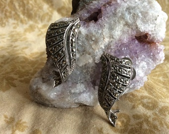 Vintage Marcasite Clip on Earrings