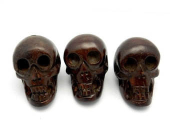 Carved Wooden Skull Bead - Large Size  -(RK66B7)
