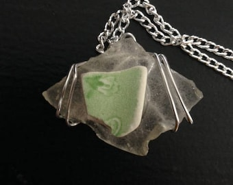 Sea Glass and Pottery Necklace