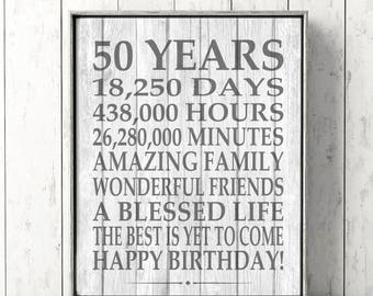 50th Birthday Sign Rustic Barn Wood Farmhouse Printable Digital File Instant Download Poster 50 Year