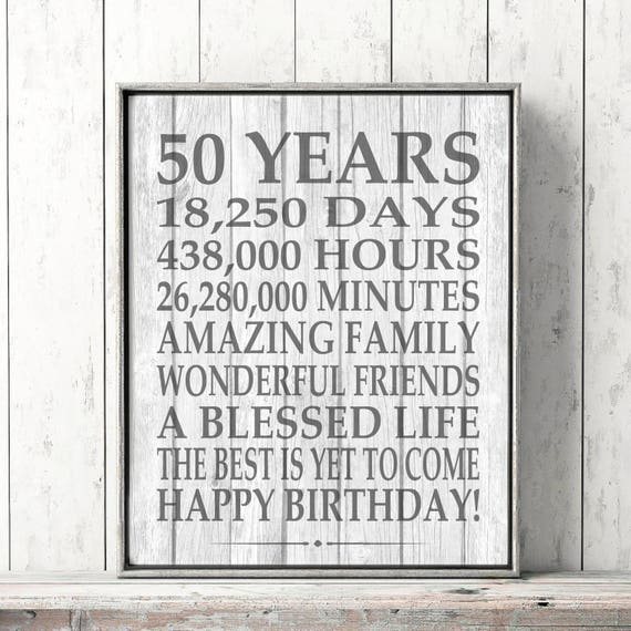 50th Birthday Sign Rustic Barn Wood Farmhouse Printable