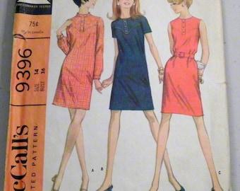 "1960 Yoked Sheath Dress in 3 versions Mod Sleeveless sewing pattern McCalls 9396 Size 14 Bust 36"""