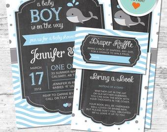 Whale Baby Shower Invitation, Whale Invitation, Blue, Gray, Polka Dots, Waves, Chalkboard | DIY
