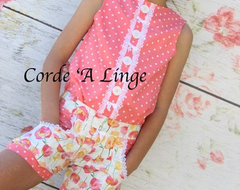 Girls Bubble Shorts & Top Coral Set-Size 2-10