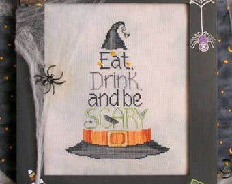 INSTANT DOWNLOAD Waxing Moon Designs Eat Drink and Be Scary PDF counted cross stitch patterns holidays black hat spells magic witch
