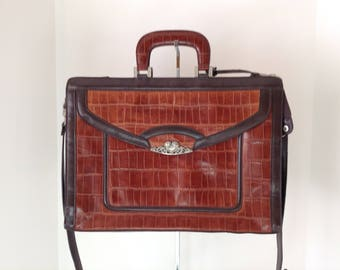 Vintage Briefcase In Two Tone Brown