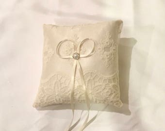 Wedding ring pillow ivory lace on ivory vintage inspired pillow custom made