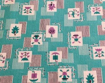 Vintage Feedsack Flour Sack Fabric Aqua Purple Novelty 1930's 1940's 1950's Quilt Patchwork