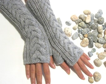 Light GRAY LONG Fingerless Gloves with a cable pattern