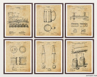 BEER PATENT ART - Beer Patent - Beer Poster - Beer Brewing - Beer Decor - Ale - Craft Beer - Home Brew - Home Brewing Art - Beer Wall Art