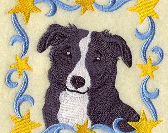 Country Border Collie Square Embroidered Flour Sack Hand/Dish Towel