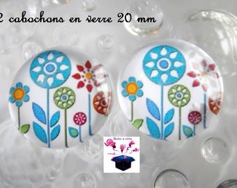 1 cabochon clear 20mm theme theme little birds in the Meadow