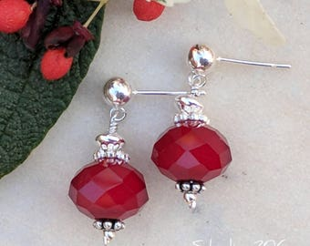 Red velvet glass bead drop earrings
