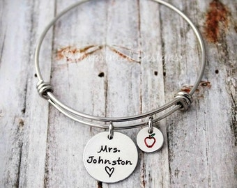 Teacher Bangle Bracelet - Teach Love Inspire - Hand Stamped - Personalized Name - Adjustable - Apple - Teacher Jewelry - Charm Bracelet