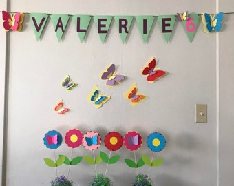 Butterfly and Flowers Party Decoration Set.