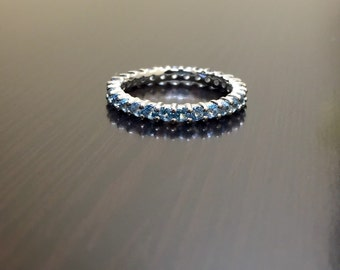 Blue Topaz Eternity Band - Silver Topaz Band - Topaz Wedding Band - Blue Topaz Band - Eternity Engagement Band - Silver Band - Topaz Ring