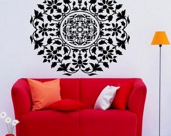 Mandala Wall Decal Flower Mandala Vinyl Sticker Indian Lotus Murals Interior Home Decor (4ma4l)