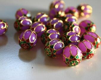 SALE Lavender Purple Beads - Meenakari beads (2) 12mmx13mm