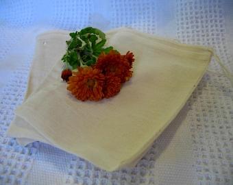 Reusable Tea Bag Muslin Tea Bags set of 5 5x7 cotton drawstring bags