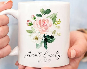 Custom Aunt Mug, Aunt Gift, Personalized Funny Mugs, Pregnancy Reveal, Aunt Coffee Mug, New Aunt Gift, Aunt to be, Auntie Mug, Floral Gift
