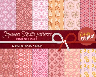 Pink Digital Papers Japanese Patterns 12pcs 300dpi Instant Download Collage Sheets Scrapbooking Printable Paper