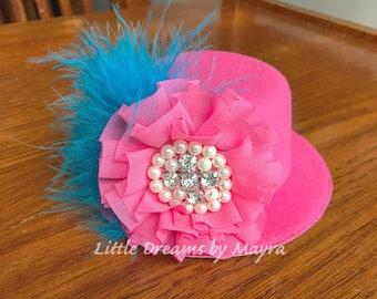 Pink and turquoise mini hat, bubblegum mini hat, mini hat any size