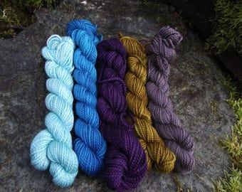 Yarn kit Merino wool Baby alpaca, Silk ,hand dyed DK sport yarn kit--Capricorn