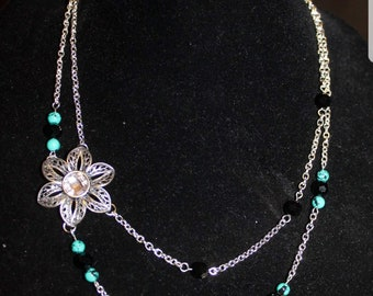 Floral and Turquoise Beaded Double Strand Necklace