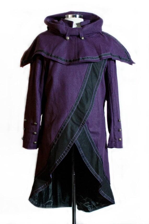 Brocade Woollen Hood - Black and Gold- LARP, Cosplay, Costume