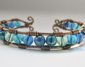 Copper Wire Wrapped Cuff Bracelet in Shades of the Sea