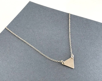Tiny Triangle Sterling Silver Necklace, Delicate Layering Necklace