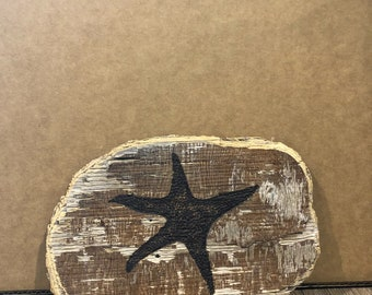 Starfish wood burn on ply driftwood from the Puget Sound of the Pacific Northwest