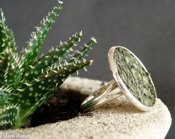 Kale green fish leather ring, green cocktail ring, statement ring, tilapia leather ring, silver ring, genuine fish leather